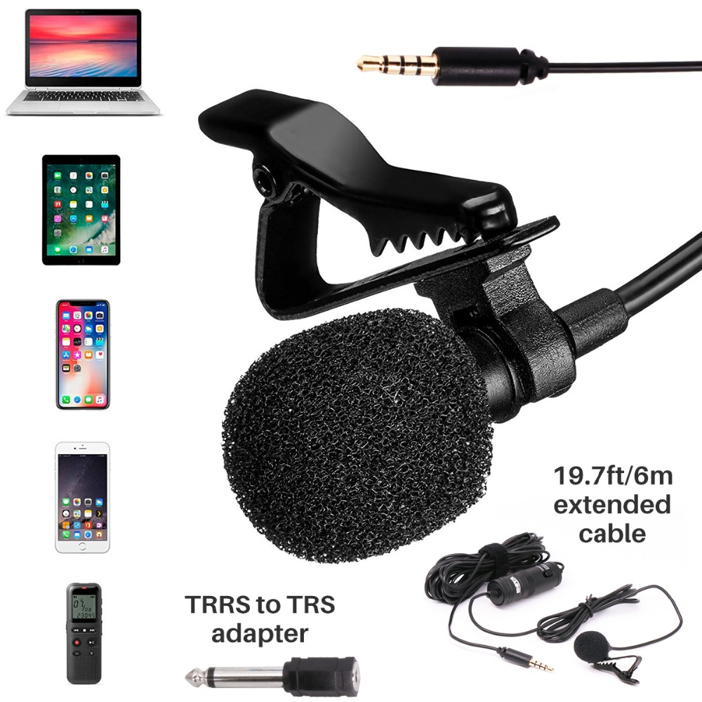 BOYA BY-M1 3.5mm Audio Video Record Lavalier Lapel Microphone Clip On Mic for iPhone Android Mac DSLR Podcast Camcorder Recorder Pakistan