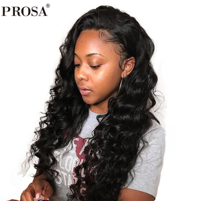 Sans colle pleine dentelle perruques cheveux humains avec bébé cheveux 250 densité brésilienne lâche vague pleine dentelle cheveux humains perruques Prosa Remy