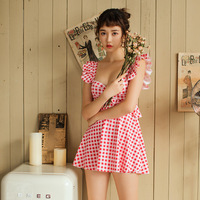 Bikini 2019 One Piece May Women's Beach Checked Skirt Swimsuit Female Cover Girl Plaid Polyester Sierra Surfer Plus Size
