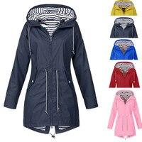 Горячая распродажа женский однотонный длинный дождевик уличные куртки плюс размер Новая мода водонепроницаемый с капюшоном ветрозащитный...