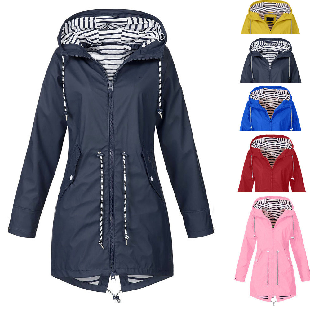 79b8f43577 Hot Sale Women Solid Color Long Rain Coat Outdoor Jackets Plus Size New  Fashion Waterproof Hooded Windproof Raincoat With Pocket