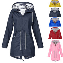 Hot Sale Women Solid Color Long Rain Coat Outdoor Jackets Plus Size New Fashion Waterproof Hooded Windproof Raincoat With Pocket