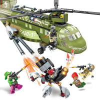 506pcs Military Series Block Black Gold model Building Blocks Helicopter Army Bricks Children figure toys Compatible