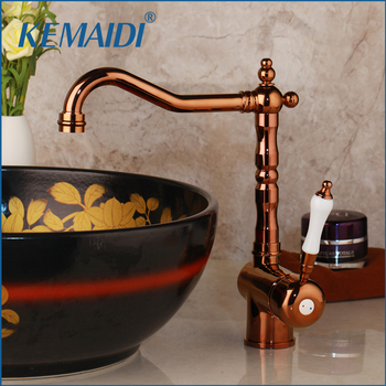 KEMAIDI Luxury European Design Ceramic Rose Gold Bathroom Basin Faucet Single Handle Mixer for Cold and Hot Water Tap