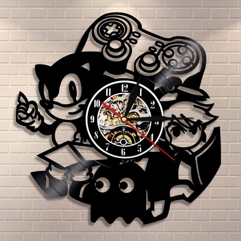 2019 horloge murale Klok Relogios De Parede grande horloge murale Saat livraison gratuite musique vinyle rétro nostalgie Sonic le hérisson
