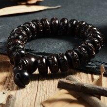 Cindiry Vintage Lightning Wood Buddhism Prayer Beads Bracelets Six Words Mantra Wooden Fish Tibetan