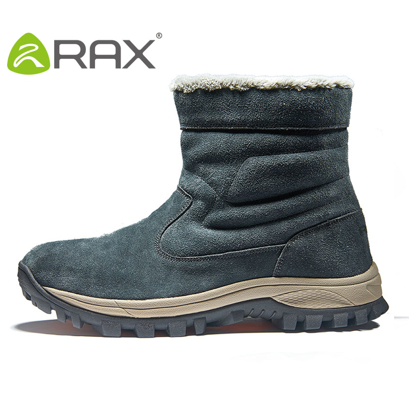 RAX Waterproof Hiking Shoes Winter Men Snow Boots outdoor Trekking Boots Genuine Leather Men Climbing Walking Shoes 74-5J442 yin qi shi man winter outdoor shoes hiking camping trip high top hiking boots cow leather durable female plush warm outdoor boot