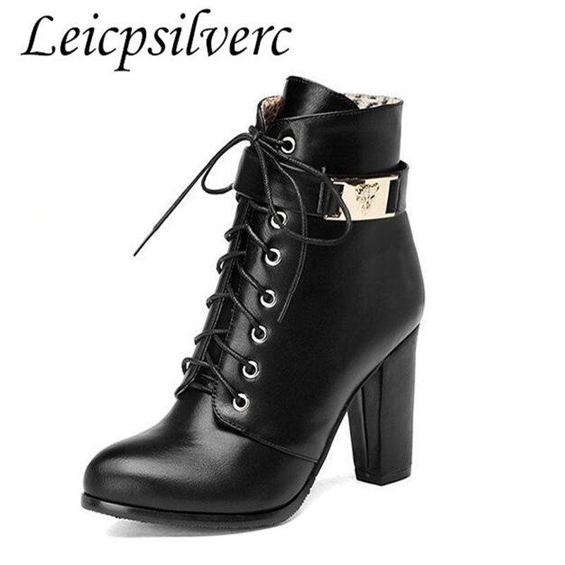 The new side zipper Martin high-heeled boots female British style boots with thick short barrel boots shoes in winter