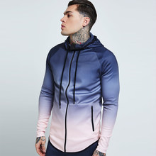 Running Jacket Men Zipped Gradient Fitness Coat Hooded Jogging Hiking Sweatshirts Gym Sport Jacket Basketball Hoodies Clothing(China)