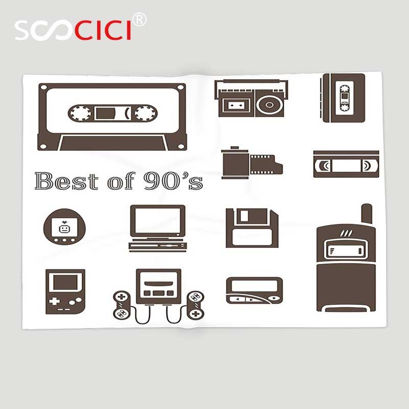 US $46 91 49% OFF|Custom Soft Fleece Throw Blanket 90s Decorations Gadget  of 90s Icons Pattern With Desktop Computer Video Game Joystick Nostalgia-in