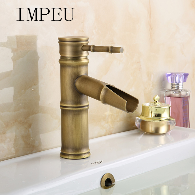 IMPEU Waterfall Antique Brass Finish Commercial Bathroom Vessel Sink Faucet Bamboo Shape Design Hot Cold Water