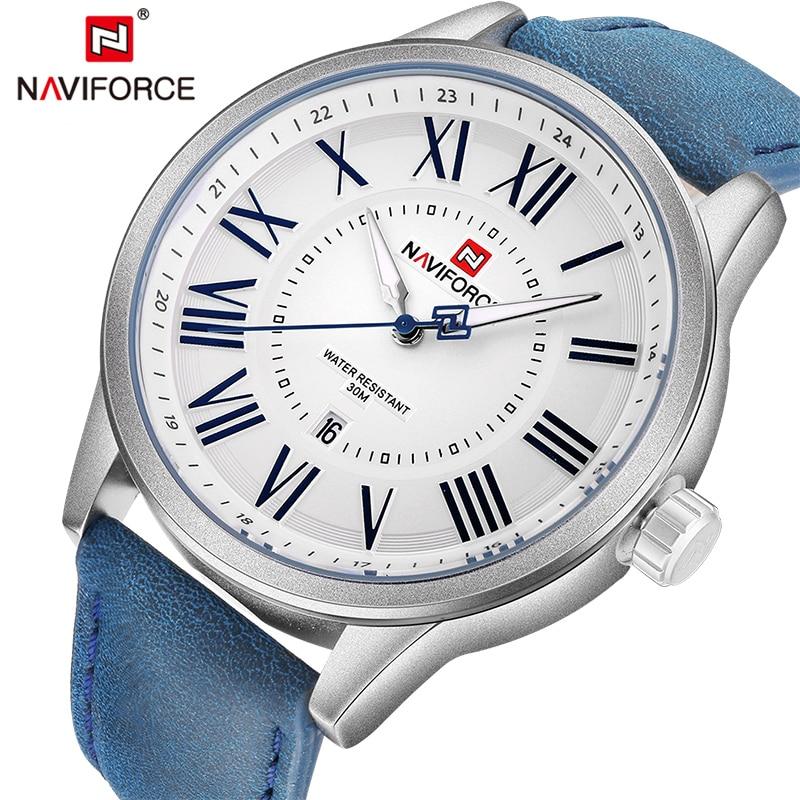 b492c818f14 Homens Relógios Top de Luxo Da Marca NAVIFORCE Exército dos homens de Couro  À Prova D