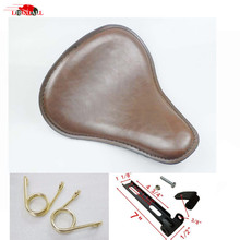 hot deal buy brown leather motorcycle solo driver seat covers for harley sportster bobber chopper custom with 2