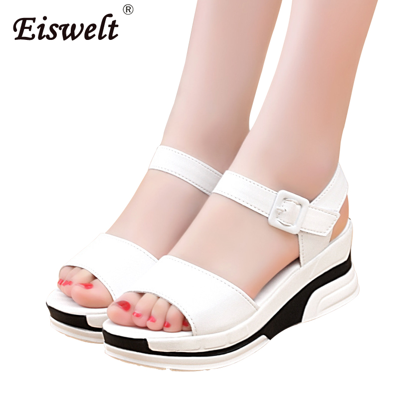 EISWELT Summer Women Sandal Ladies Fashion Platform Wild Wedge Shoes Middle Heel Flat Muffin with Thick Bottom Women Sandals new summer sandal high heel women thick bottom female sandals casual shoes fashion leather sandal comfortable sweet cute woman