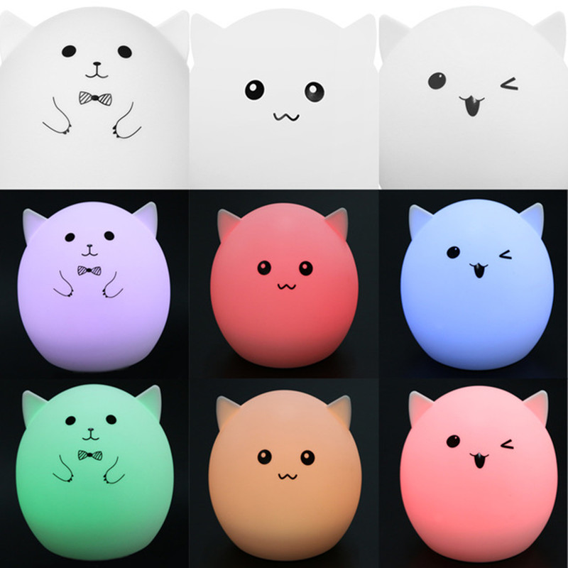 Cartoon Pet Pig Animal Colorful USB Rechargeable Touch Sensor LED Night Light for Children Room Bedroom Silicone Night lamp