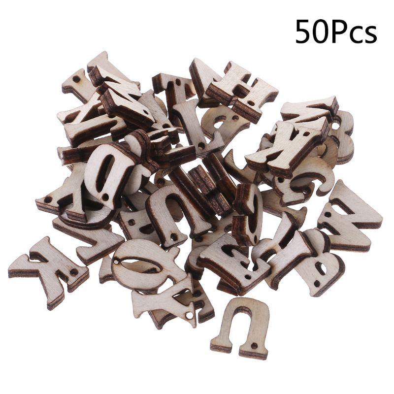 50pcs Laser Cut Wood Embellishment Wooden Letter Shape Craft Wedding Decor