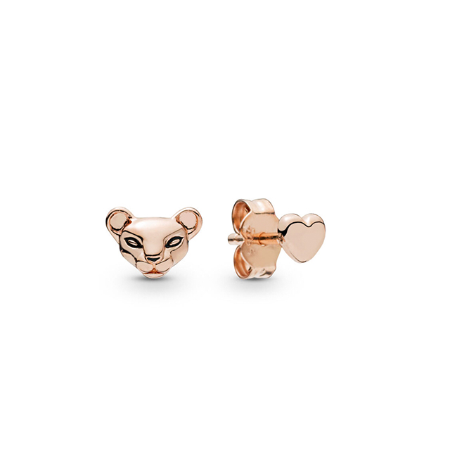 2019 Autumn New 925 Sterling Silver Animal Cute Lion Princess Pandora Stud Earrings Fits for Women Gift Charm DIY Jewelry(China)