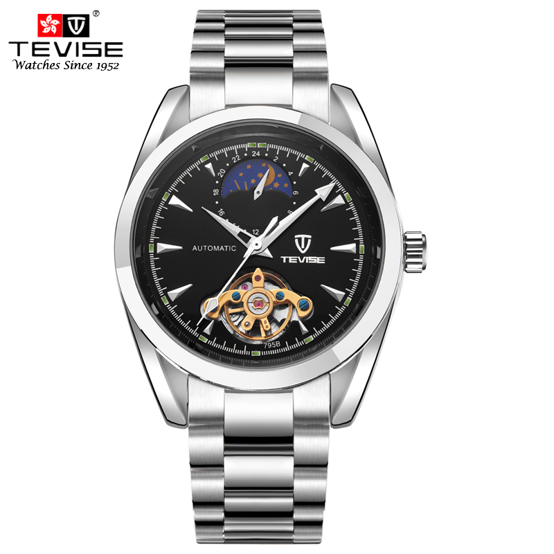 цена на TEVISE Top Brand Luxury Mens Watches Mechanical Self Wind Moon Phase Watch Automatic Tourbillon Stainless Steel Wristwatches 795