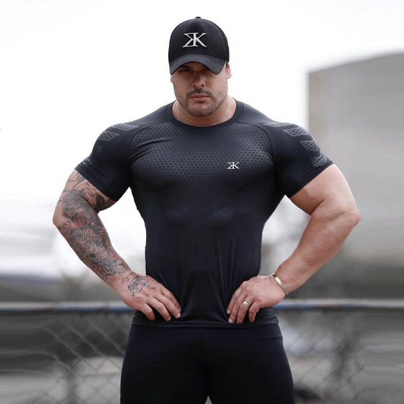 BULKING Quick Dry Compression Männer Kurzarm T-Shirts Laufende Hemd Fitness Engen Tennis Fußball Jersey Gym Demix Sportswear
