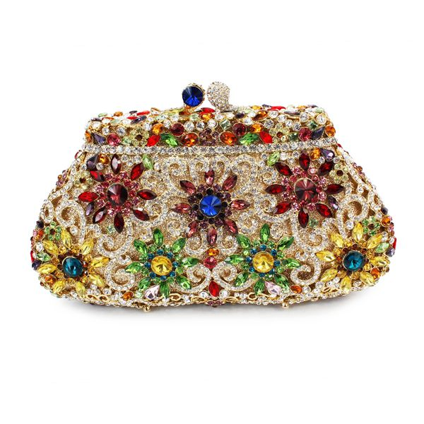 flower shape crystal stone party evening clutch bag ladies indian clutch purse (8626A-C) beautiful rose shape flower ladies bridal wedding party crystal clutch evening bag 8679a g