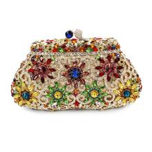 flower shape crystal stone party evening clutch bag ladies indian clutch  purse (8626A-C) b2ff40db6ea6