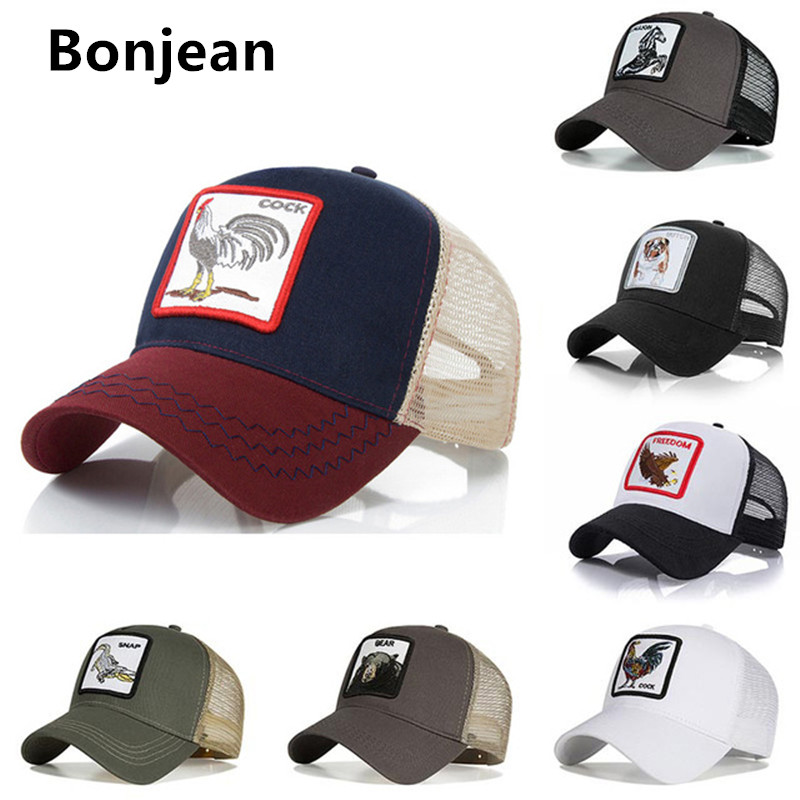 2020 Fashion Mesh Baseball Cap Unisex Lovely Animals Caps Women Men Snapback Cap Dad Hat Summer Bone Adjustable Gorras Black