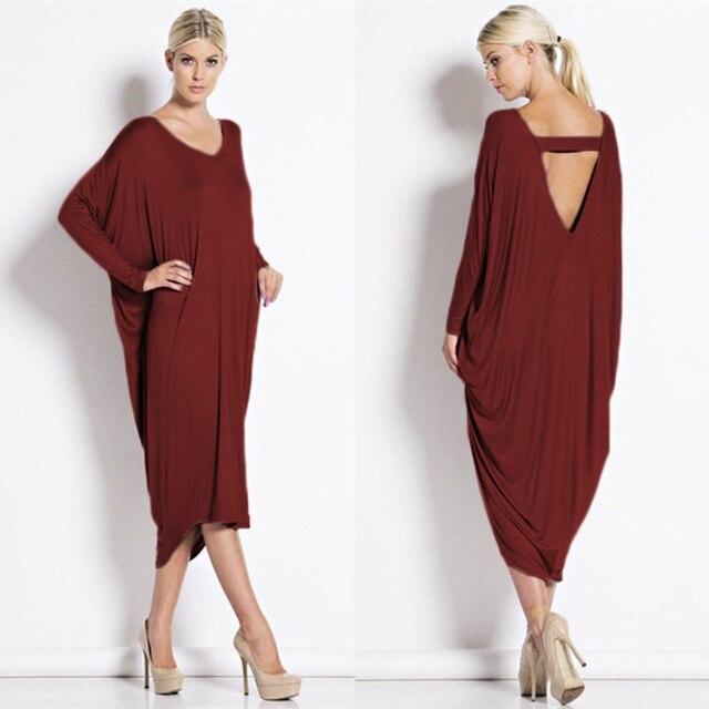 d52b13b0c Más el tamaño de vestidos largos mujeres de la moda de primavera con cuello  en v ...