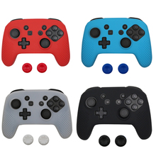 Soft Silicone Rubber Skin Case Protective Cover For Nintend switch NS NX Pro Controller Gamepad with 2 thumbsticks Grips Cap