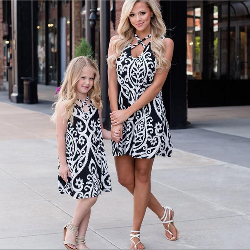 BEFORW Mommy And Me Flower Pattern Dresses Family Matching Clothes Outfits Floral Print Sleeveless Mom Girls Sexy Maxi Dress sweet round collar flower and leaves print sleeveless dress for women