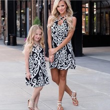 Mommy And Me Flower Pattern Dresses Family Matching Clothes