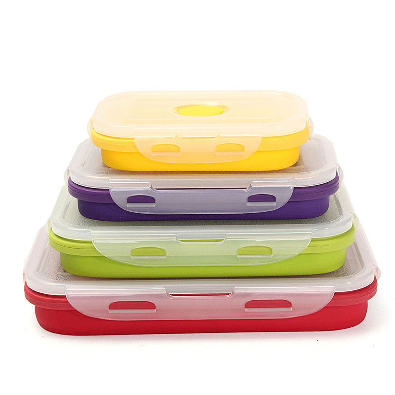 4pcs Collapsible Silicone dinner Bento Boxes Lunchbox Portable Food Storage Kitchen Container Picnic Bowl Folding Eco-Friendly keith titanium lunch boxes set 3 pcs in 1 outdoor camping ultralight bowl with lid picnic fresh food keeping boxes ti5378