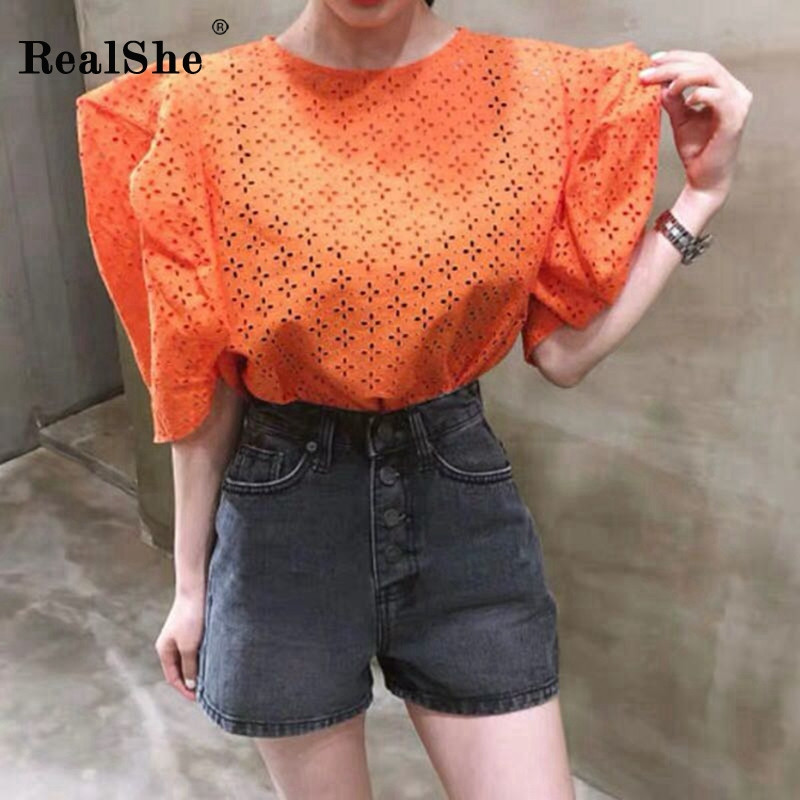 RealShe   Blouse   Women O-Neck Half Lantern Sleeve Hollow Out Womens Tops And   Blouses   Summer Loose Womens   Shirt   Women   Shirts   2019