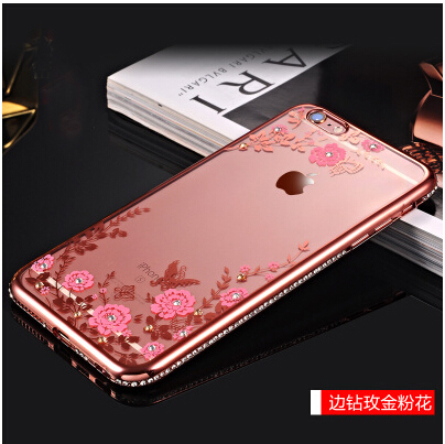 Glitter Diamond Frame Case Cover For iphone 5 5S SE 6 6S 7 8 plus X XS MAX XR Soft clear Transparent Rhinestone flower pattern