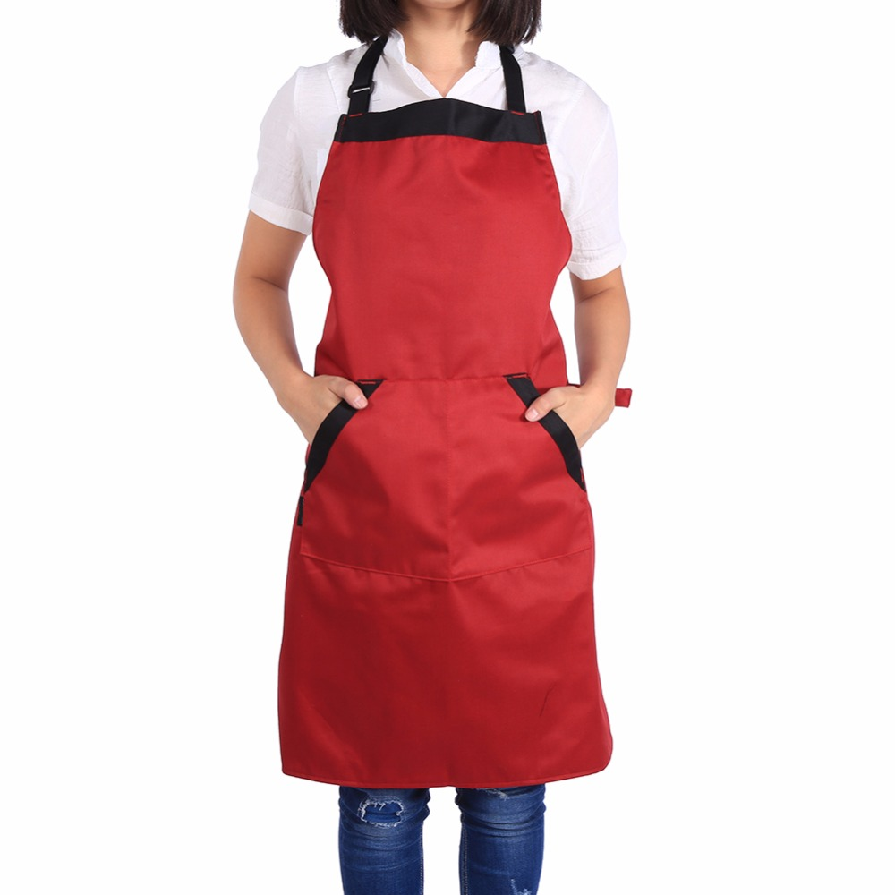 high quality cooking aprons dress with pockets mother gift polyester kitchen restaurant cooking bib apron black - Cooking Aprons