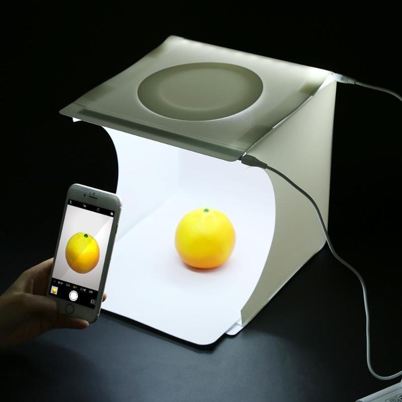 23x22x24 cm portátil Mini plegable estudio Softbox luz caja habitación Mesa tiro carpa con paneles de luz LED