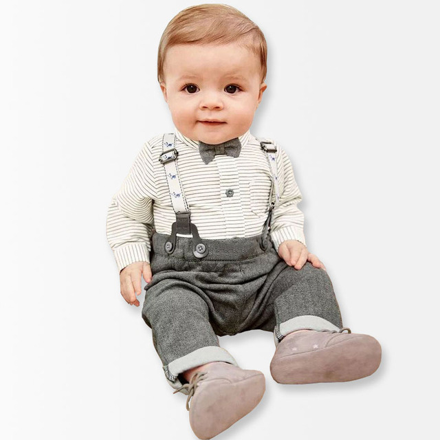 2017 Spring 2 Pieces Baby Boys Clothing Set Striped Shirt Overalls Trousers With Braces Getlman Suit Newborn baby boy clothes