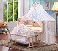 Ambiental Não Multifuncional cama de Bebê Pintura De Madeira Cama de Bebê Recém-nascido Macio Variam de Mesa Do Bebê Da Cama 5 pcs Bebê Berço Berço C01