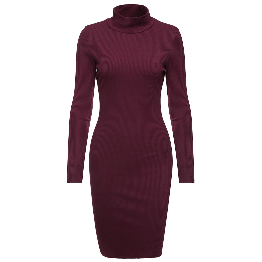 Women Sweater Dress Casual Turtleneck Long Sleeve Knitted Ribbed Dress Female Solid Color Slim Dresses Vestidos women turtleneck front pocket sweater dress