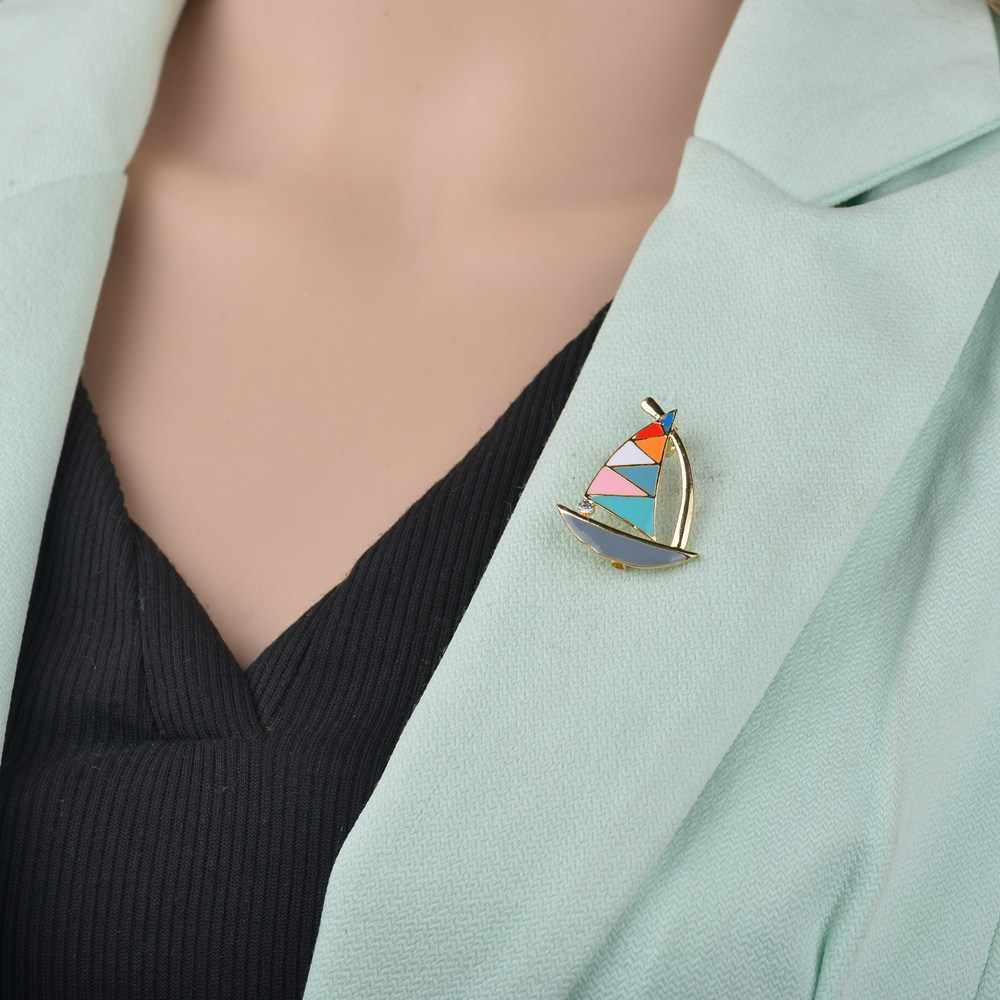 Terreau Kathy Fashion Vintage Berlian Imitasi Kristal Bros Berwarna-warni Perahu Layar Pesta Pernikahan Bros Pin Wanita Pria Perhiasan
