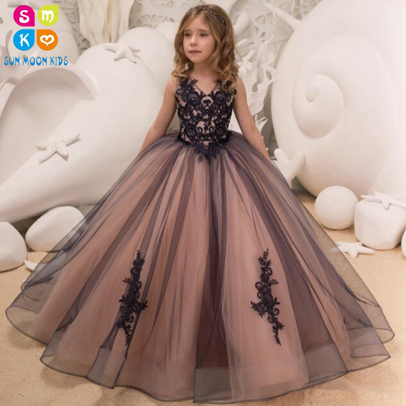 New Kids Pageant Evening Gowns 2018 Lace V-Neck Ball Gown Flower Girl Dresses For Weddings First Communion Dresses For Girls цены