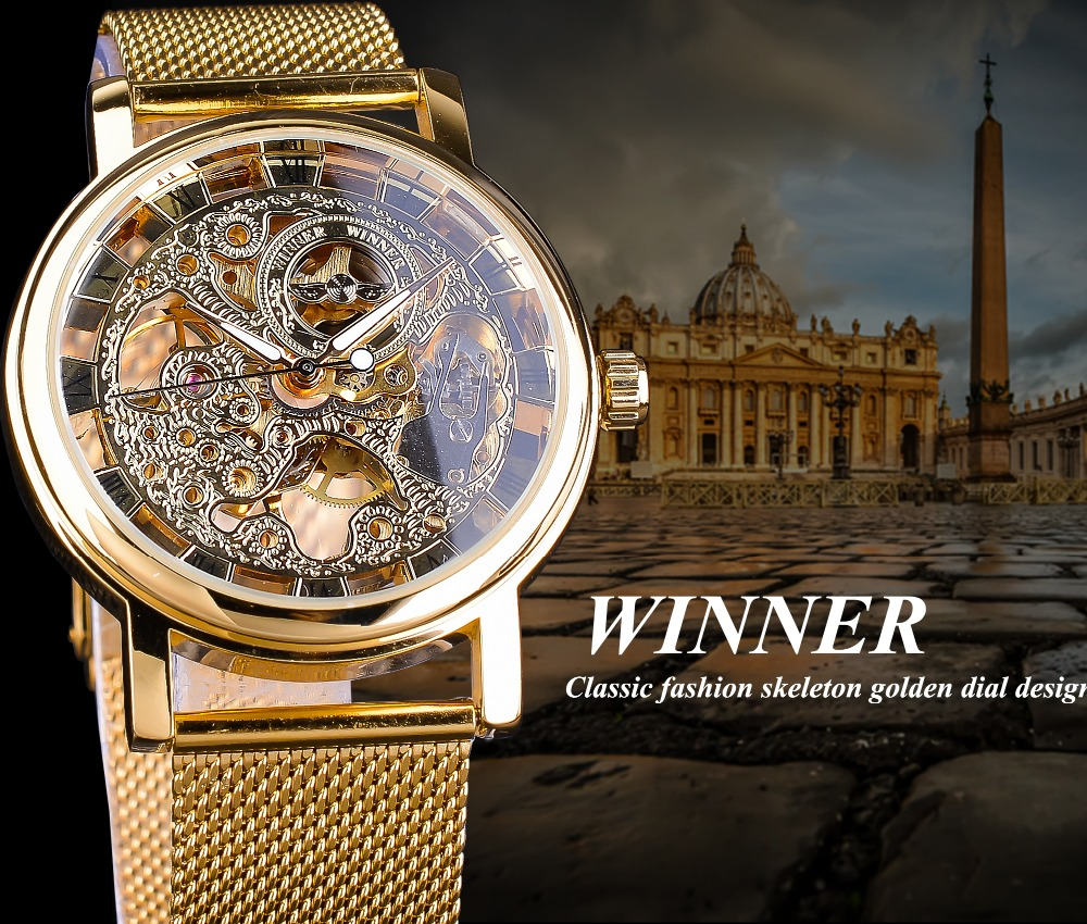 HTB1AlguvHZnBKNjSZFrq6yRLFXag Winner Thin Case Full Golden Design Retro Openwork Clock Mesh Band Men's Mechanical Watches Top Brand Luxury Luminous Hands