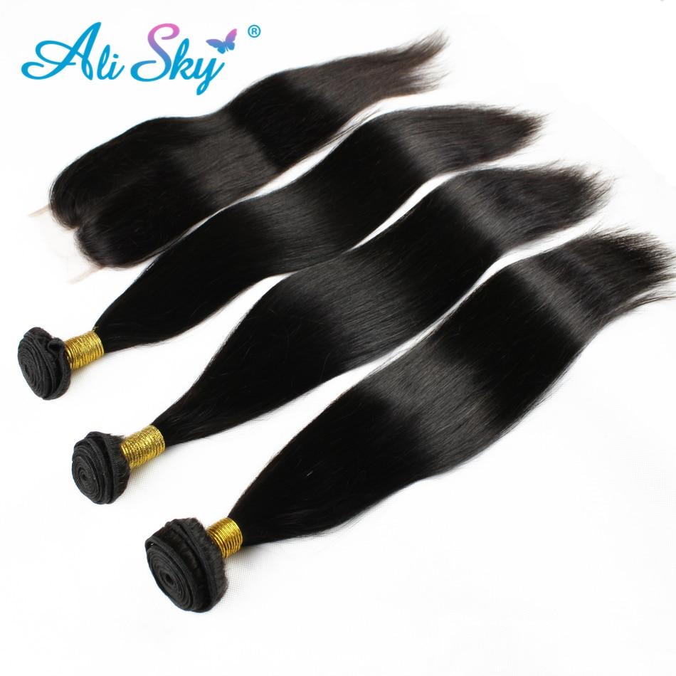 Brazilski naravnost lasje 4 snopi z 1pcs vrhnje čipke zaprtje 100% - Človeški lasje (za črne) - Fotografija 5