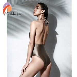 Image 3 - Andzhelika 여성 새로운 원피스 섹시한 홀터넥 수영복 브라질 빈티지 수영복 여름 바디 슈트 수영복 착용 두 가지 방법