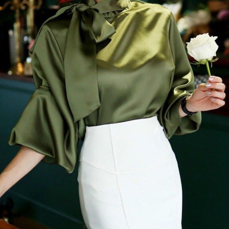 Ladies Vintage Satin Lantern Sleeve Shirt Bow Tie Neck Loose Elegant Blouse Top 2018