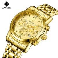 WWOOR New Mens Watch Top Brand Man Watch 2018 Chronograph Business Quartz Watch Date Luminous 50 m Waterproof Gold Wristwatches