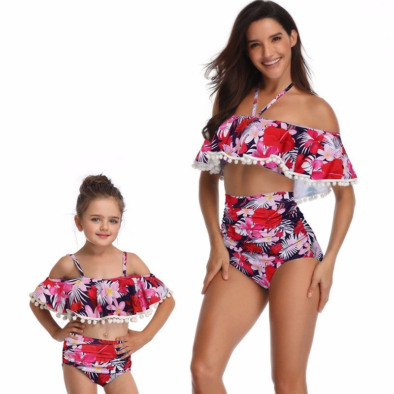 Mommy Me Family Matching Bikini Mother Daughter Set Cute Summer Swimwear