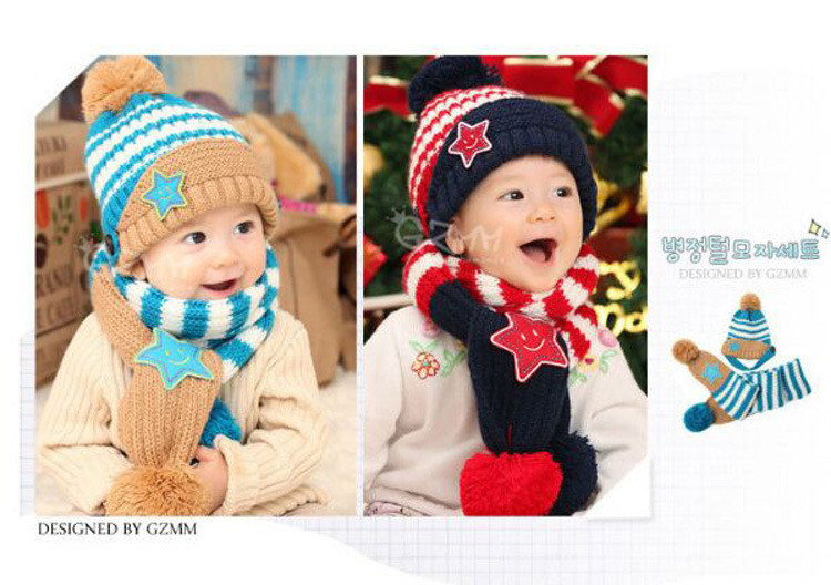 Новинка; Милая зимняя Детская шерстяная шапка с пентаграммой; Милая зимняя шапка с ушами и улыбающимся лицом; теплая шапка с рукавами для малышей; шарф; головной убор; комплект