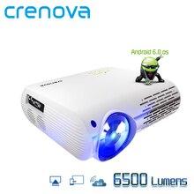 CRENOVA высокое Яркость проектор для android-устройств 6500 люмен ОС Android 6,0 с WI-FI Bluetooth HDMI VGA AV USB видеопроектор