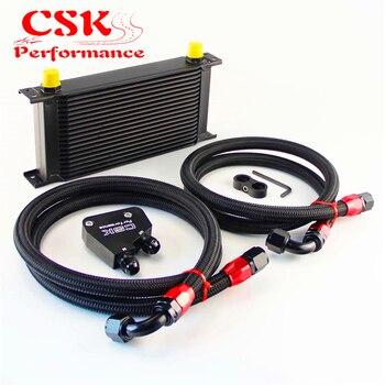 19 Baris 248mm Inggris AN10 Oil Cooler Kit + Laki-laki Sandwich Plat Adapter cocok Untuk LS1 LS2 LS3 VT VX VY VZ VE 5.7L hitam/Perak