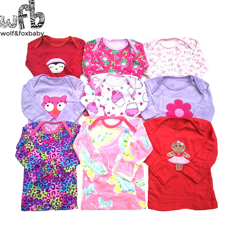 Retail 5pcs/LOT 0-24months Long-Sleeved T Shirt Baby Infant Cartoon Newborn Clothes For Boys Girls Cute Clothing Spring Fall